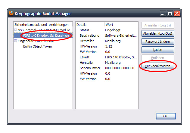 Firefox FIPS Problem - Kryptographie Modulmanager