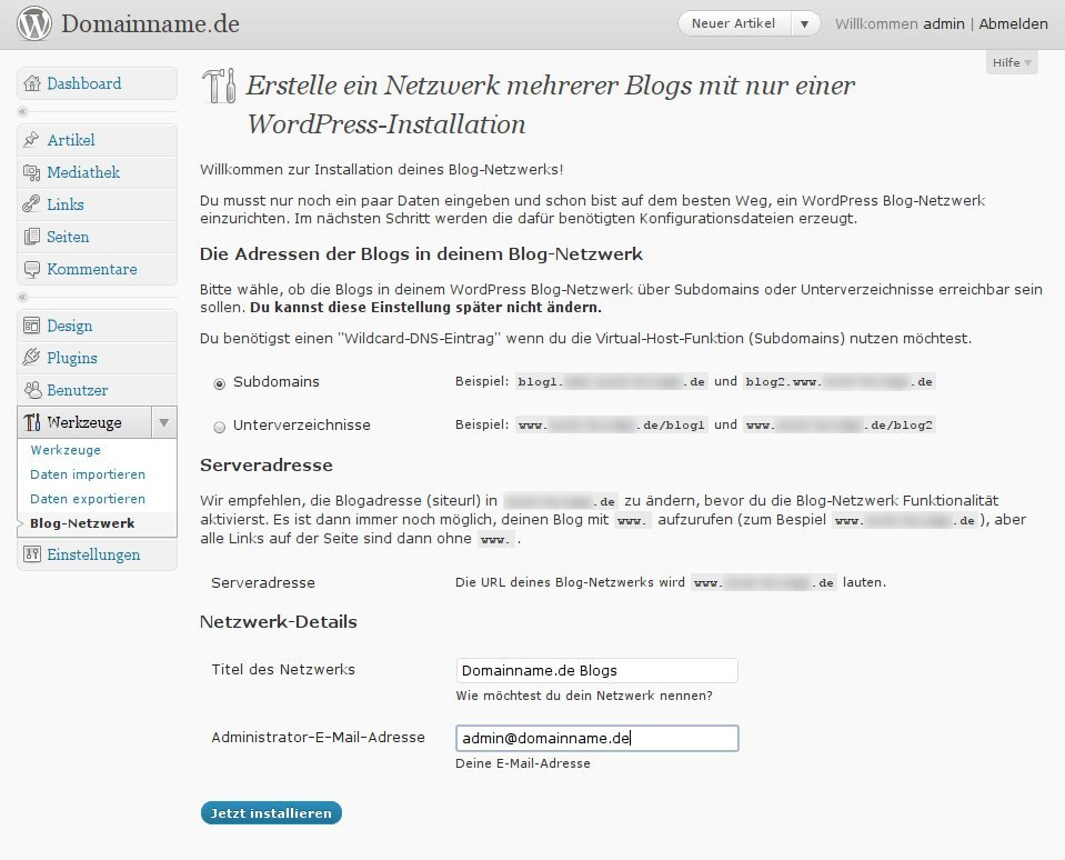 Wordpress 3.0 - Blog-Netzwerk aktivieren .. Schritt 2